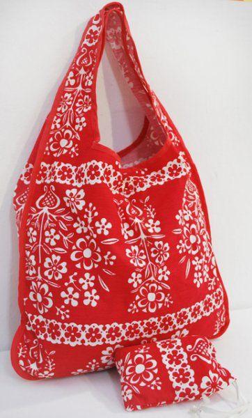 Nákupní skládací taška s pouzdrem červená 39x41cm ČESKÝ VÝROBEK