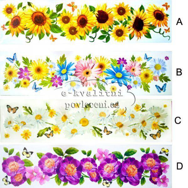 Okenní dekorace fólie pruh květinový 64x15cm > varianta A SLUNEČNICE