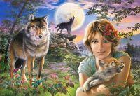 Puzzle 1000 dílků Dívka s vlky při úplňku