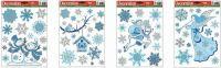 Vánoční okenní folie se stříbrnými glitry 31x22cm > varianta PTÁČEK
