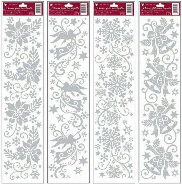 VÁNOČNÍ PRUH okenní fólie STŘÍBRNÁ 64x15cm > varianta VLOČKY