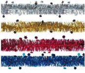 Vánoční řetěz dekor hvězdičky 200cm > varianta MODRÝ