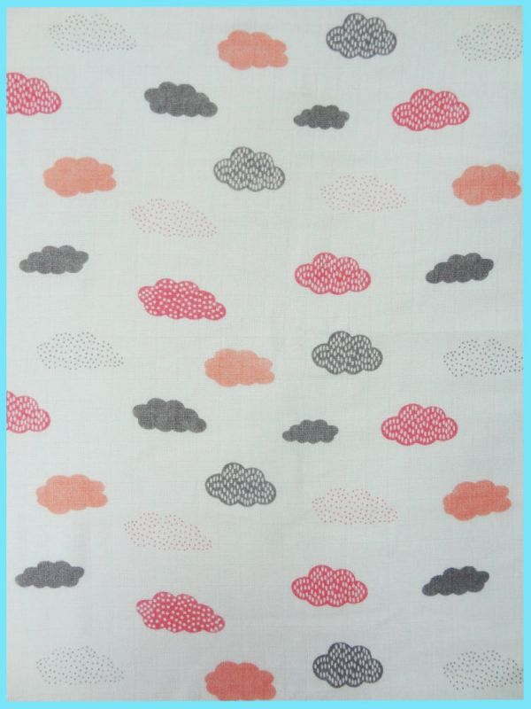 5ks potiskových plen 70x70 - Mráčky růžové