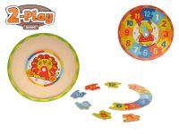 Hodiny dřevěné puzzle 2-Play 25x25x1,5cm 2druhy 12m+