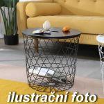 Drátěný stolek s dřevěnou deskou černý