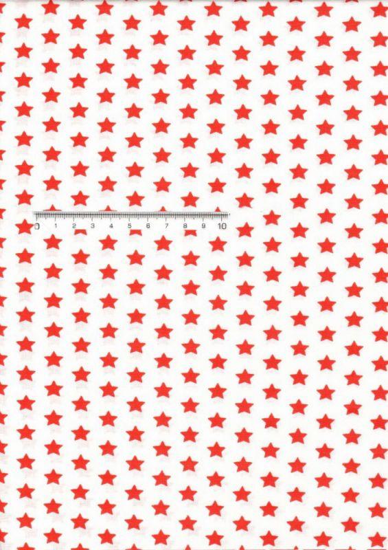 Bavlněná látka metráž hvězdy červené/bílá ČESKÝ VÝROBEK