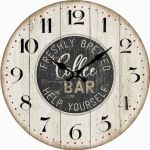 Dekorační hodiny na zeď Coffee bar