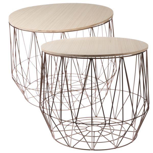 Kovový stolek s dřevěnou deskou šedý
