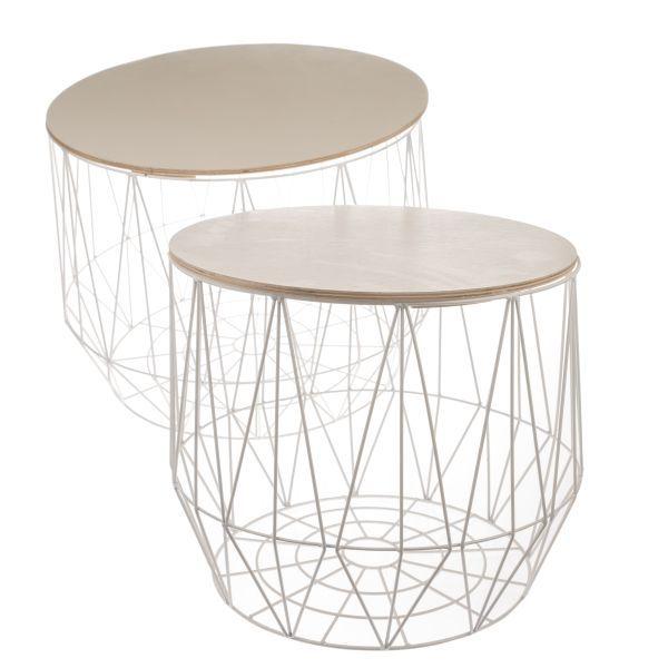 Kovový stolek s dřevěnou deskou bílý
