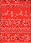 Vánoční ubrus červený srdíčka SEVERSKÁ VZOR