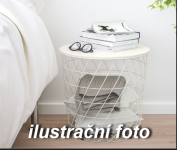 Kovový stolek s úložným prostorem bílý