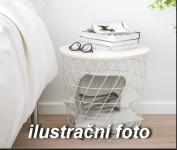 Kovový stolek s úložným prostorem bílý 42,5cm