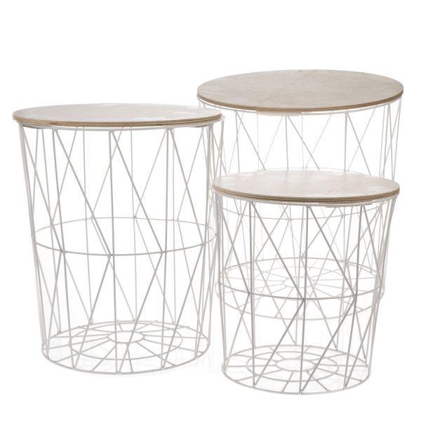 Drátěný stolek s úložným prostorem a dřevěnou deskou bílý