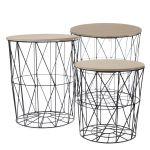 Drátěný stolek s úložným prostorem černý