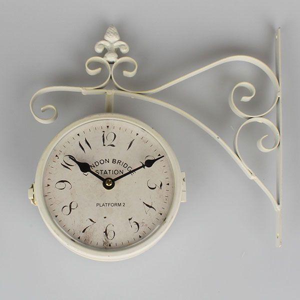 Kovové oboustranné hodiny bílé