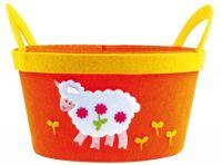 Dekorační košík obal na květináč z filcu > varianta ORANŽOVÝ - OVEČKA