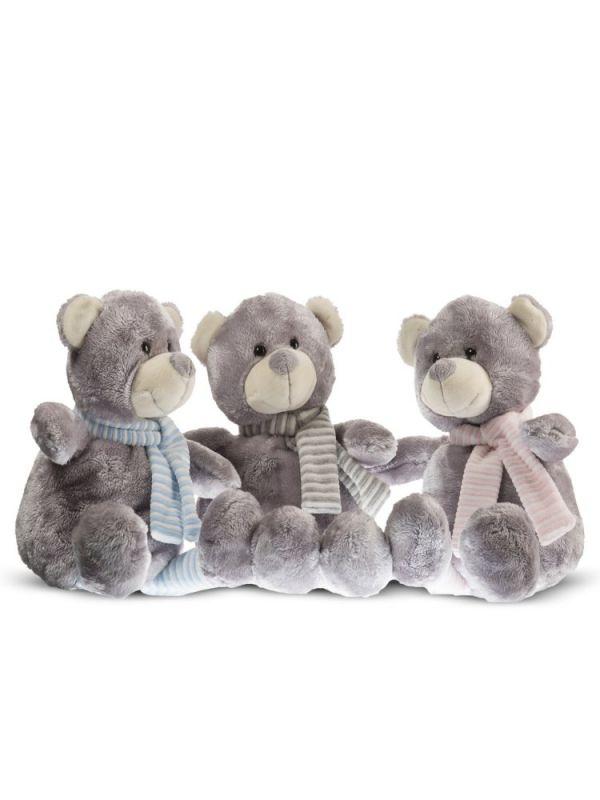 Dětský plyšák Medvídek s šedým šálem 24cm