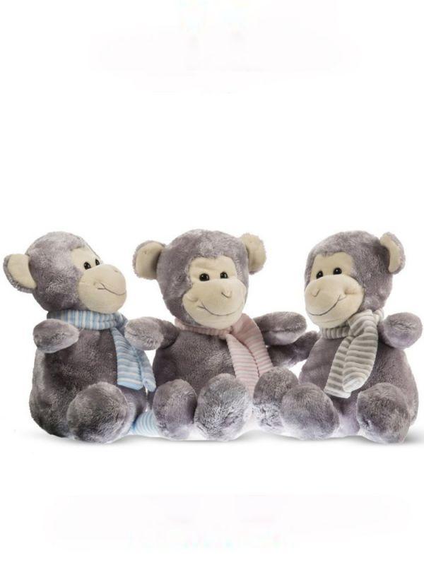 Dětský plyšák Opička s šedým šálem 24cm