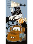 Dětská osuška 70x140cm - CARS  12 Honk if yer works ! šedá