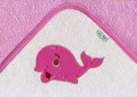 Osuška s kapucí kolekce Velryba - růžová
