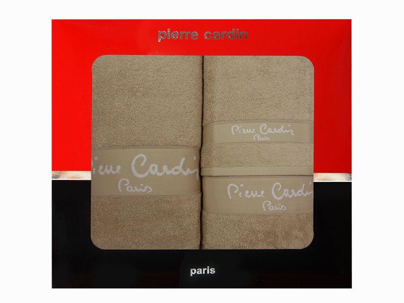 3 - dílná luxusní sada ručníků v krabici - PIERRE CARDIN - béžová