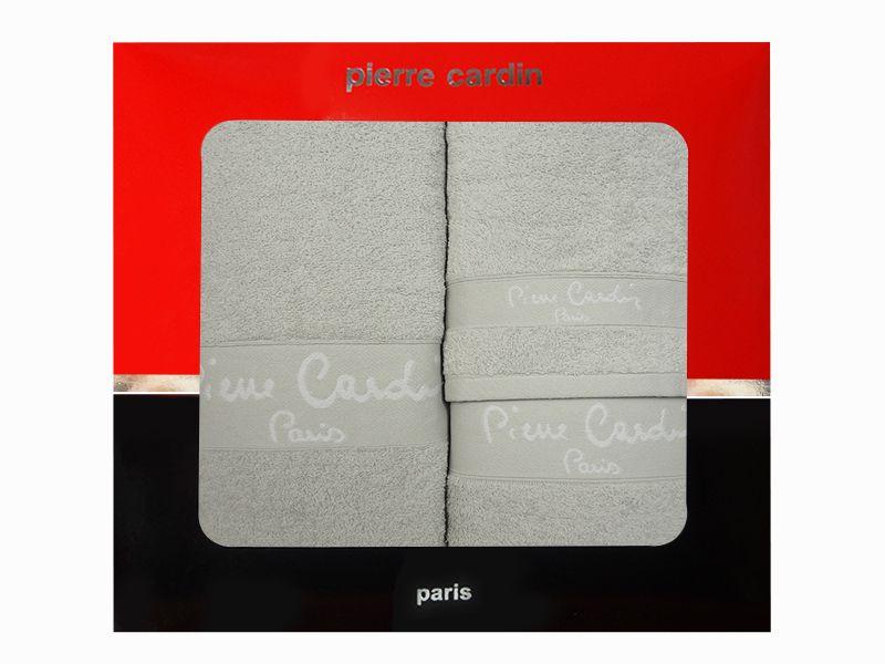 3 - dílná luxusní sada ručníků v krabici - PIERRE CARDIN - sv. šedá