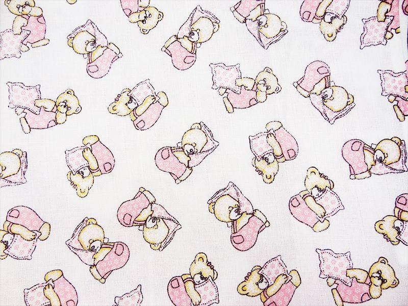5ks potiskových plen 70x70 - Medvídek polštářek růžový