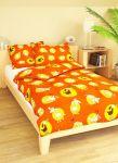 Dětské povlečení bavlna -  45x65 +90x135  Ovečky na oranžové