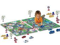Hrací deky s ulicemi města a policie + auta + značky +dekorace