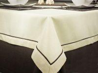 Ubrus  č.007/003 béžový s hnědým lemem 40x140