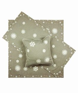 Vánoční ubrus č.15938 vločky - stříbrné 85x85