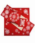 Vánoční ubrus č.15974 vločky - červené 40x140