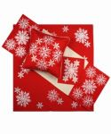 Vánoční ubrus č.15974 vločky - červené 85x85