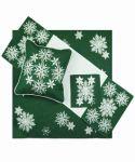 Vánoční ubrus č.15974 vločky - zelené 85x85